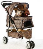 Discount All Terrain Extra Wide Leopard Skin 3 Wheels Pet Dog Cat Stroller w/RainCover